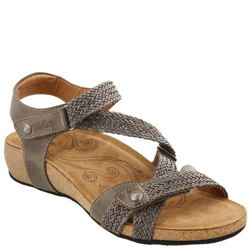 Taos TRULIE Dark Grey Woven Leather Sandals
