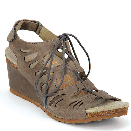 Aetrex GISELLE Ghillie Tie Stone Wedge Sandals