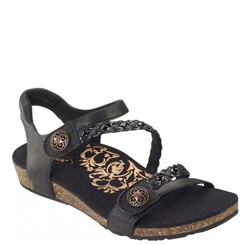 Aetrex JILLIAN BRAIDED QUARTER STRAP Black Sandals