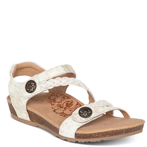 Aetrex JILLIAN BRAIDED QUARTER-STRAP Gold Sandals