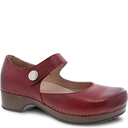 Dansko BEATRICE Red Waxy Burnished Mary Janes