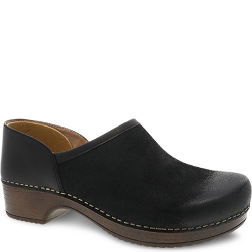 Dansko BRENNA Black Burnished Suede Clogs