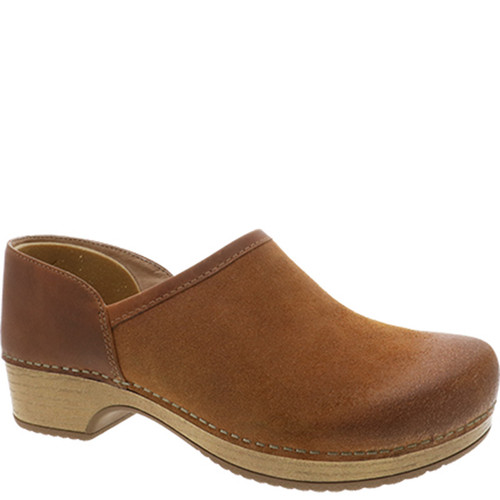 Dansko BRENNA Tan Burnished Suede Clogs