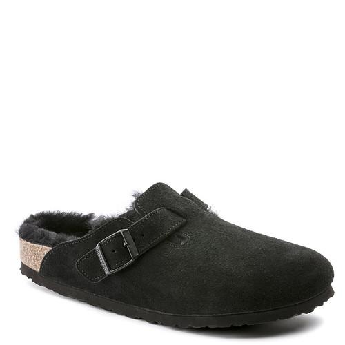 Birkenstock Women's BOSTON Shearling Clogs Black Suede Leather