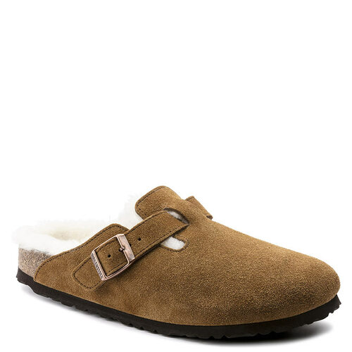 Birkenstock Women's BOSTON SHEARLING Clogs Mink Suede Leather