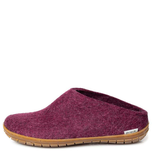Glerups BR-07 Women's RUBBER SOLE Slippers  Cranberry