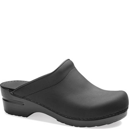 Dansko SONJA BLACK OILED Backless Clogs