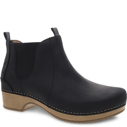 Dansko BECKA Black Oiled Leather Ankle Boots