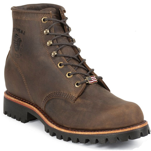 Chippewa 20080 USA CIBOLA 6 Soft Toe Non-Insulated Chocolate Apache Work Boots