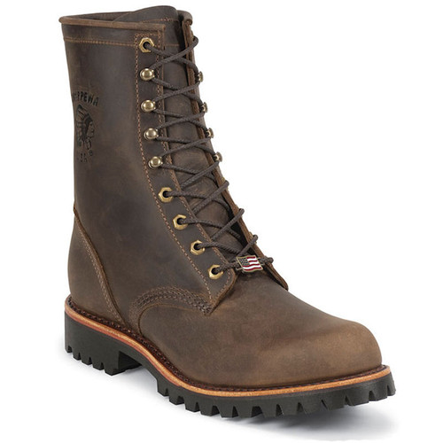 Chippewa 20086 USA CIBOLA 8 Steel Toe Non-Insulated Chocolate Apache Work Boots