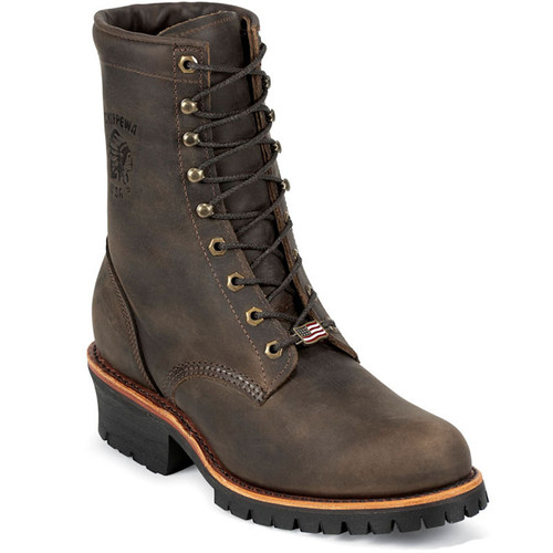 "Chippewa 20091 USA CIBOLA 8"" Steel Toe Non-Insulated Chocolate Apache Logger Boots"