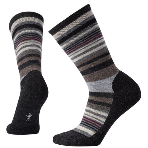 Smartwool USA Women's Jovian Stripe Charcoal Heather Crew Socks