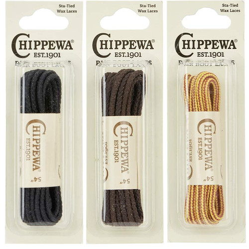 Chippewa Authentic Sta-Tied Waxed Boot Laces -1 Pair of Black, Brown, or Gold