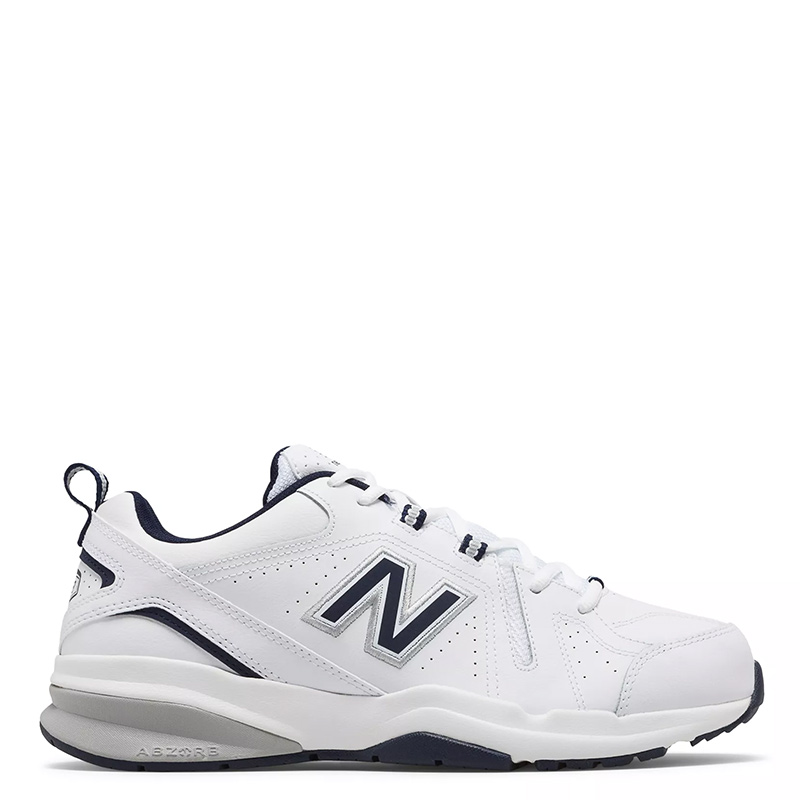 ca926d10856ad7 New Balance 608V5 Men's Classic White with Navy Leather Trainers ...