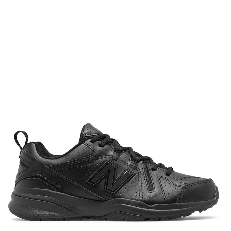 a81d5ead76 New Balance 608V5 Men's Classic Black Leather Trainers