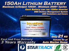 12V 150AH Solarking Lithium Battery CB-150-12-100 Ion LiFePo4 Deep Cycle Rechargeable Caravan Campers