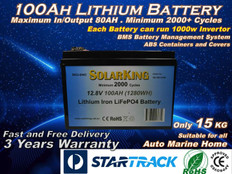 100AH Lithium LiFe PO4 SolarKing Battery - CB-100-12-80 - Free Delivery