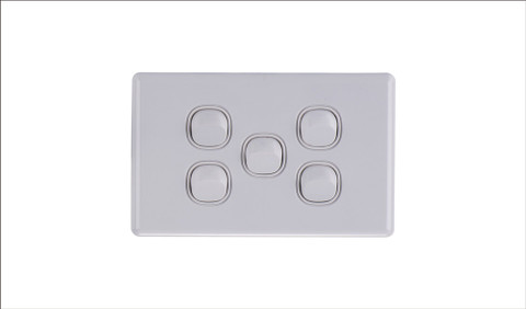 Five Gang Two Way Switch 16Amp Horizonal 10 PACK