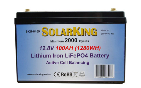100AH Lithium LiFe PO4 SolarKing Battery -  CB-100-12-100