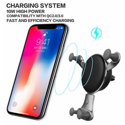 QI Wireless Fast Car Charger 10W Holder Plus Dual USB Fast Car Charger Bundle