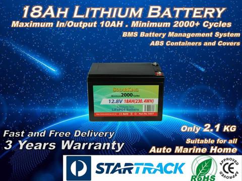 18A 12V  Solarking  Lithium Battery LB-18-12-10 2000+ Deep Cycles Lightweight