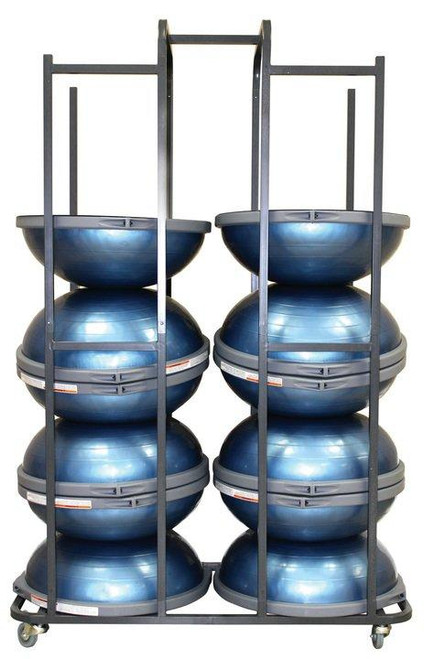 bosu storage cart with inflated bosu balance trainers