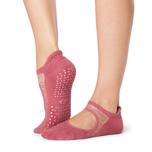 pink socks with front cut for workouts non-slip