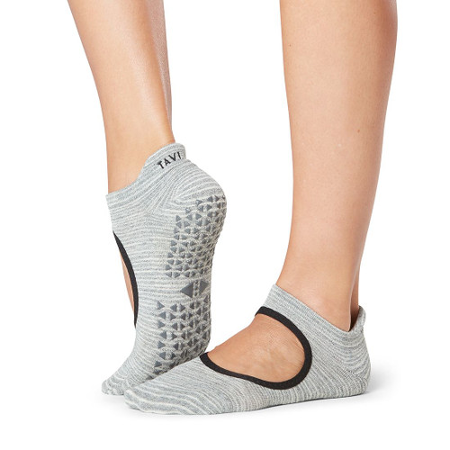 grey socks with front cut for pilates workouts