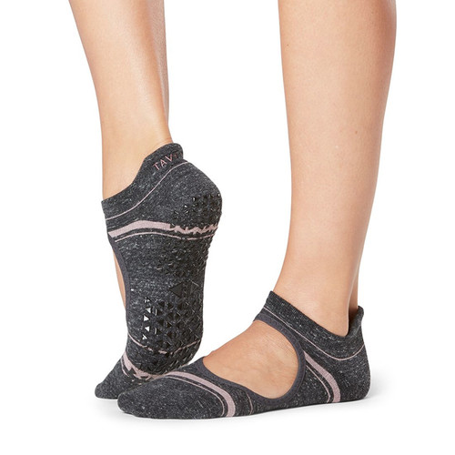pink & grey socks with front cut for pilates and yoga by tavi noir