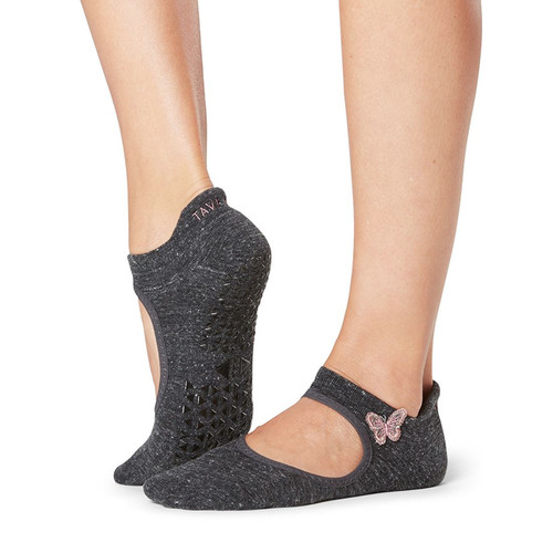 grey socks with pink butterfly and front cut with non-slip grip for pilates and yoga