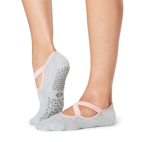 light grey pilates socks with x design in the front with non slip grip
