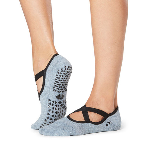 grey socks with x design cut in the front for pilates and yoga