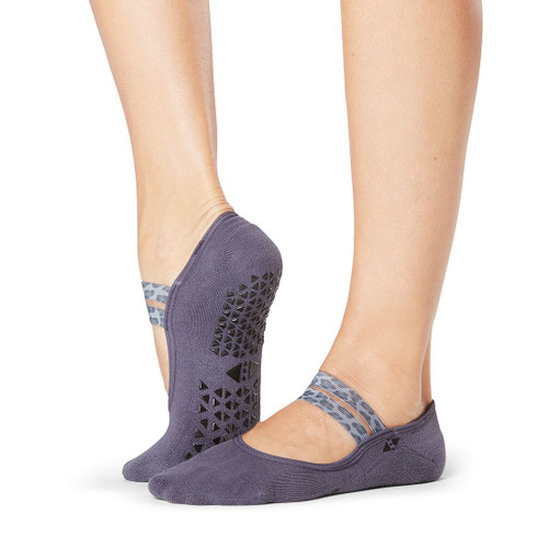 purple socks with open cut designed for pilates and yoga