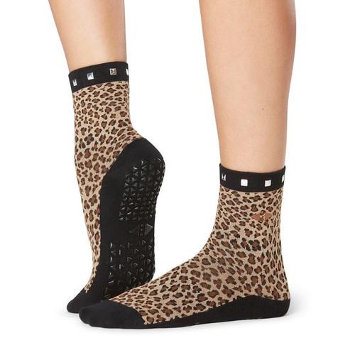 high ankle leopar socks for pilates workouts