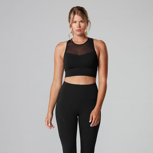 black bra with straps for workout by tavi noir