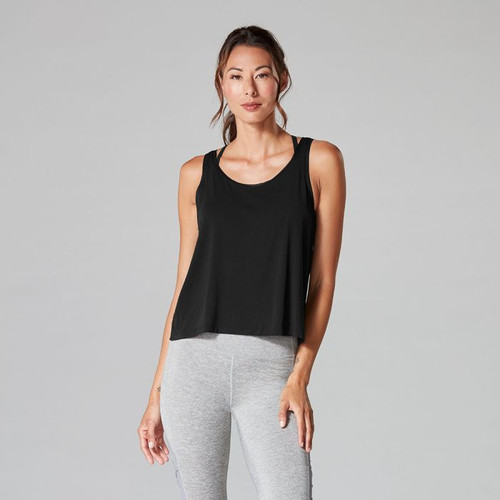 black tank top for workouts by tavi noir front view