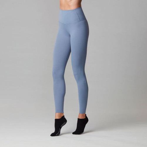 high wasted workout leggings in blue colour by tavi noir front view