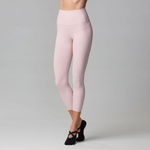 high wasted workout leggings in pink colour by tavi noir front view