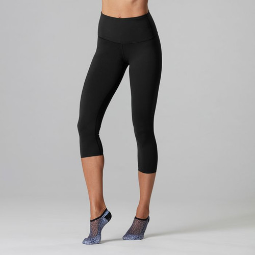 high wasted cropped leggings black colour by tavi noir front view