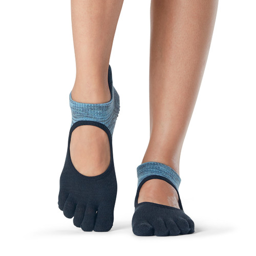 blue and black pilates socks