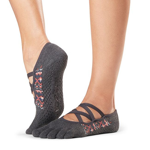 grey pilates socks with open front design