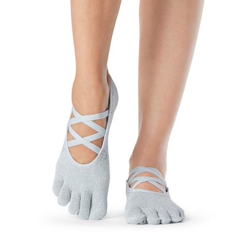 white pilates socks with open cut front