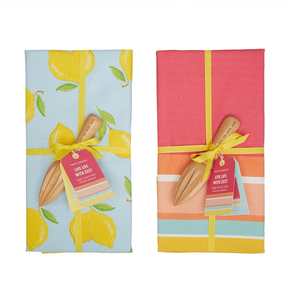 LEMON DISH TOWEL SET WITH CITRUS REAMER