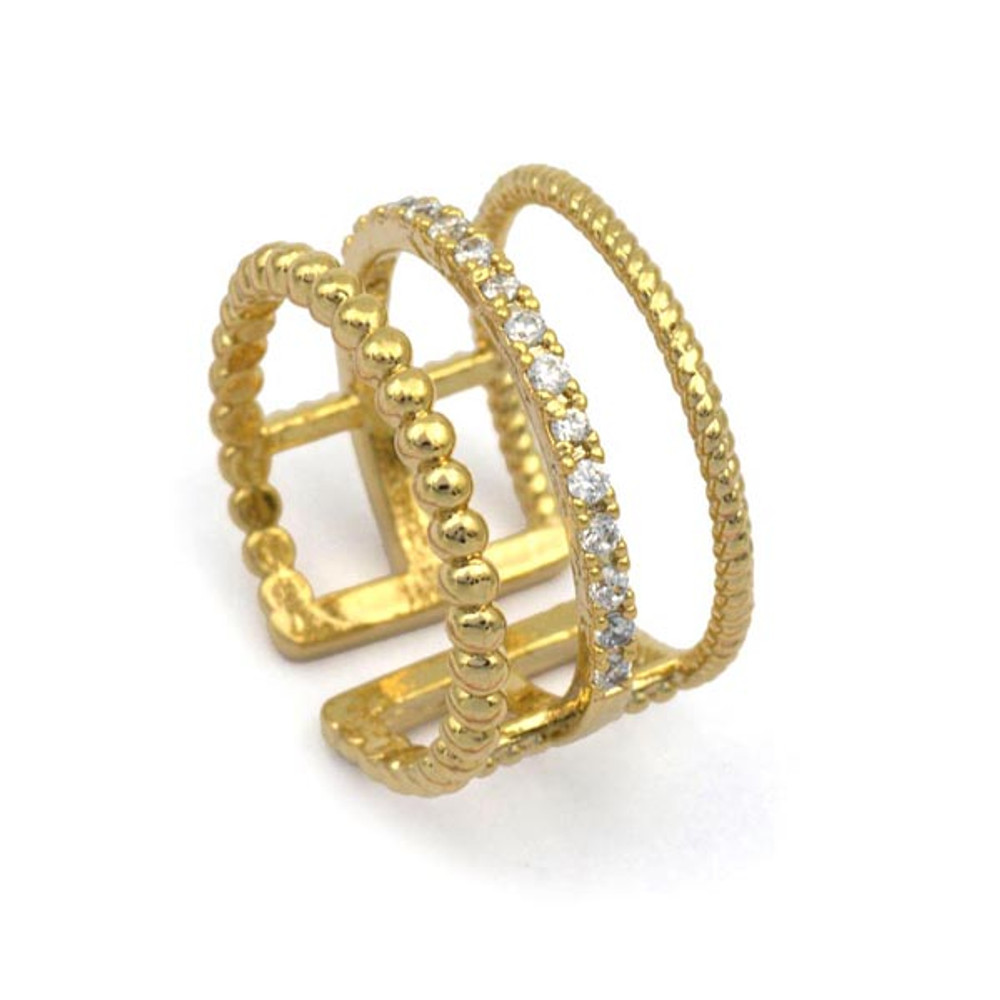 RING GOLD 3 BAND STONES