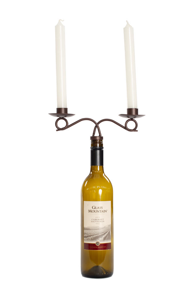 BRONZE WINE BOTTLE TAPER HOLDER