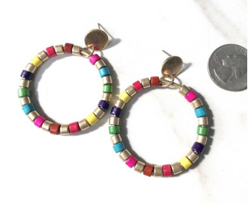 EARRING CIRCLE HOOP MULTI BEADS