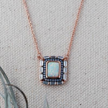 ROSE GOLD/OPAL SQUARE NECKLACE