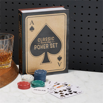 Classic Poker Set in storage gift box  includes 100 chips in 4 colors (25 pcs each White, Blue, Green , and Red) Big Blind Button Dealer Button Small blind Button 2 decks of cards paper/plastic