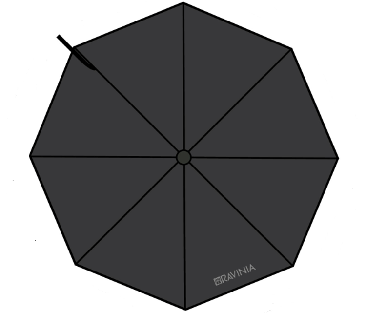 RAVINIA LOGO UMBRELLA BLACK & SILVER