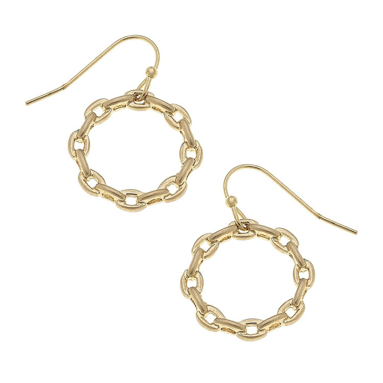 GOLD HOOP LINK CHAIN EARRINGS